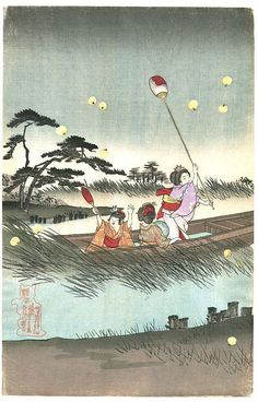 """Happy Friday! Time for ukiyo-e and poetry:  うつす手に光る蛍や指のまた  Poem Translation:  Passed to a new hand, the firefly shines its light— between her fingers.  Poem by Tan Taigi (炭太祇)  Ukiyo-e by Toyohara Chikanobu """"Chasing Fireflies"""" 1893"""