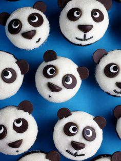 Use chocolate chips and sprinkles to give each cupcake panda face a unique (and adorable!) expression.