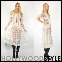 Vintage 70s Sheer Lace Victorian Wedding Hippie BOho Draped Swing Maxi dress. $119.00, via Etsy.