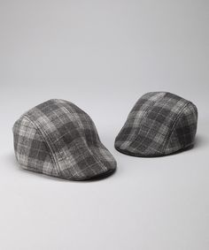 Milly & Max Gray Plaid Father & Son Driving Cap Set by Milly & Max on #zulily