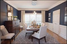 Get inspired by Traditional Dining Room Design photo by Interiors by Redesign. Wayfair lets you find the designer products in the photo and get ideas from thousands of other Traditional Dining Room Design photos. Dining Room Blue, Dining Room Buffet, Dining Room Design, Dining Area, Room Photo, Dining Room Wainscoting, Wainscoting Bedroom, Wainscoting Ideas, Traditional Dining Rooms