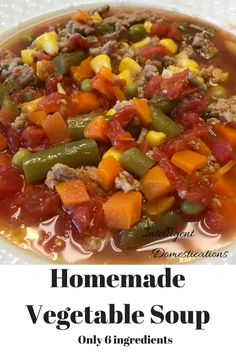 Vegetable Soup Easy Homemade Vegetable Soup recipe with only 6 ingredients. Can be made in the Slow Cooker or on the stove top.Easy Homemade Vegetable Soup recipe with only 6 ingredients. Can be made in the Slow Cooker or on the stove top. Vegetable Soup Crock Pot, Homemade Vegetable Soups, Homemade Soup, Healthy Vegtable Soup, Vegetable Soup Seasoning, Easy Veggie Soup, Hamburger Vegetable Soup, Homemade Recipe, Beef Soup Recipes