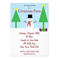 Blue Red & White Snowman Holiday Christmas Party Personalized Invitation