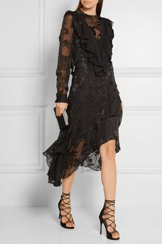 Preen by Thornton Bregazzi   Etha ruffled devoré silk-chiffon midi dress   NET-A-PORTER.COM