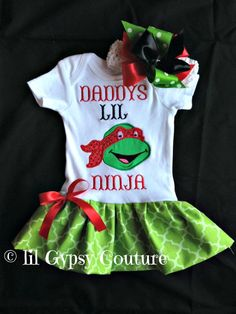 Boutique shirt girl or baby-Ninja-new baby-onesie-turtle by lilgypsycouture on Etsy https://www.etsy.com/listing/243787644/boutique-shirt-girl-or-baby-ninja-new