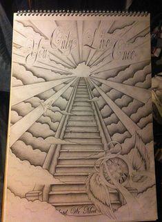 Stairway To Heaven Back Tattoo - Tattoo vorlagen - Tatoo Ideen Dope Tattoos, Chicano Tattoos, Body Art Tattoos, Tattoos For Guys, Tattoo Drawings, Stairs Tattoo, Stairs To Heaven Tattoo, Cloud Tattoo Sleeve, Sleeve Tattoos