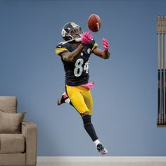 Antonio Brown REAL.BIG. Fathead Wall Graphic | Pittsburgh Steelers Wall Decal | Sports Décor | Football Bedroom/Man Cave/Nursery