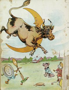 The Cow Jumped Antique Nursery, Vintage Nursery, Vintage Children's Books, Vintage Posters, Vintage Ephemera, Sheep Tattoo, Cow Drawing, Iphone Wallpaper Images, Cartoon Cow