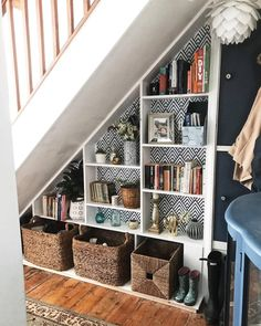 Great Screen Fireplace Remodel 2019 Strategies Excellent Images Fireplace Remodel 2019 Thoughts Under Stair Storage Ideas Stair Shelves, Staircase Storage, Staircase Design, Under Stairs Cupboard Storage, Under Stairs Pantry, Hallway Storage, Under Stairs Nook, Living Room Under Stairs, Under Staircase Ideas