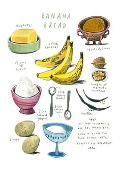 illustrated recipes: banana bread Art Print by Felicita Sala Recipe Drawing, Bread Art, Food Journal, Christmas Gifts For Mom, Food Drawing, Banana Bread Recipes, Kitchen Art, Kitchen Walls, Food Illustrations