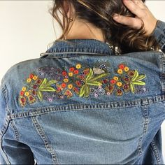 """[London Jeans] Boho Embroidered Denim Jacket Small Classic denim jacket. Back has beautiful flower embroidery at top. The perfect jacket to throw on with everything.  Fabric: 99% Cotton 1% Spandex Bust: 17"""" Length: 22"""" Condition: EUC. No flaws!  No Trades! No PayPal! Jackets & Coats Jean Jackets"""