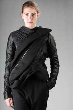 Rick Owens | short sculpture leather jacket with diagonal draped sashes in different fabrics |
