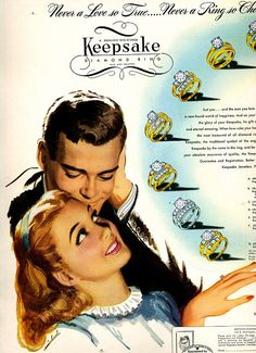 vintage wedding engagement rings 1947 advertisement - Keepsake diamond rings