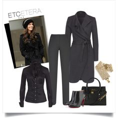DELPHIAN jacquard #BlackCoat, with BLACKOUT #BlackBlouse and OCTANE #BlackPant | ETCETERA Holiday 2013 Collection