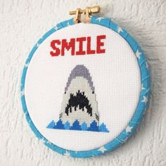 Smile Says the Shark! 5 inch 13cm Cross Stitch -Jaws Inspired Ready to Hang Original Pattern Fan Art Shark Week Great White