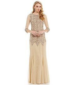 ee7e9c4fabb JS Collections Diamond Beaded Gown  Dillards Beaded Gown