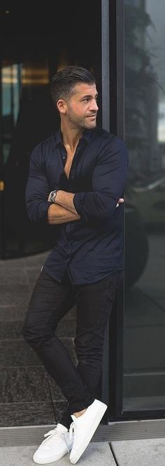 @kosta_williams - with a summer outfit idea with a navy button up shirt with rolled up sleeves watch black denim no show socks white sneakers #summerstyle #summeroutfits #whitesneakers #menswear #menstyle #mensfashion