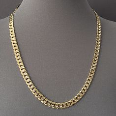 Men's Necklace 14K Gold Plated 7 mm Necklace / Cuban Link Chain / Yellow Gold #Unbranded #Chain