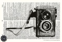 Camera Picture VINTAGE DICTIONARY ART Print Vintage Camera Illustration Photography Art Upcycled Book Page Retro Home Decor Wall Decor