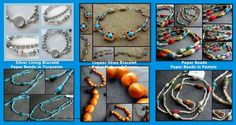 Bracelets: Silver~Copper Skies~Paper Beads