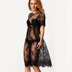 Lace Beach Dress, different size for choice & hollow & transparent, embroidered, floral, black - yyw.com