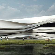 Stries dans l'architecture Yinchuan Art Museum par WAA, près de Yincuan, Chine. Des couches de sédiments laissés par le passage progressif du fleuve Jaune ont inspiré la façade de ce musée. Rubans de Glass Reinforced concrète.