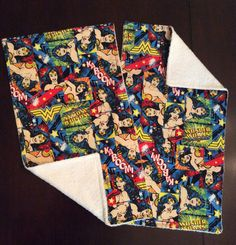 Wonder Woman Burp Cloth / Set of 2 / Superhero Burp Cloth Set / Burp Cloth Set