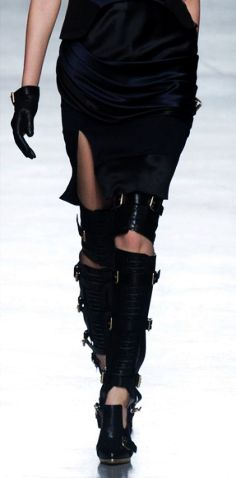 new over the knee buckle boots black leather-call me mrs.