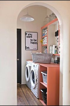 Ways to hide a laundry room inside sliding barn doors happy home also look how the storage bins indicate the type light dark for easy sorting 50 awesome laundry room design ideas solutioingenieria Images