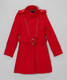 Take a look at this Red Diagonal Zip Jacket - Girls on zulily today!