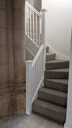 A softwood double winder staircase. The balustrade consists of a pear handrail, square spindles and newel posts. Bespoke Staircases, Wooden Staircases, Curved Staircase, Staircase Design, Glass Stairs, Metal Stairs, Wooden Stairs, Stair Builder