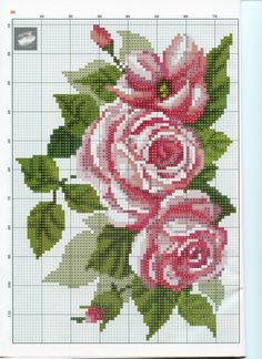 Gallery.ru / Фото #20 - 1 - kento Easy Cross Stitch Patterns, Simple Cross Stitch, Cross Stitch Flowers, Cross Stitch Charts, Cross Stitch Designs, Cross Stitching, Cross Stitch Embroidery, Red And Pink Roses, Crochet Cross