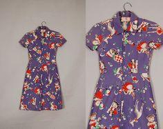 vintage 1940s dress 40s day dress cotton novelty animal blue/purple