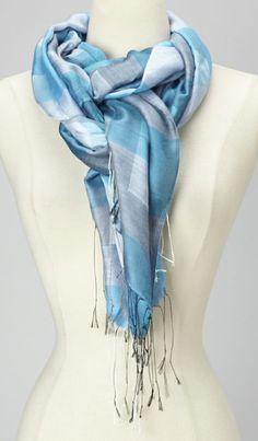 Turquoise & Gray Plaid Silk Scarf