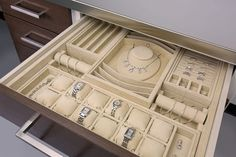 Custom jewelry drawer inserts provide layouts unique to your collection keeping your jewelry pristine, organized and readily accessible.