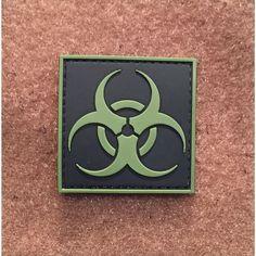 Bio Hazard Square Green PVC Morale Patch