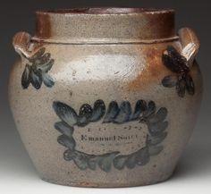 "SIGNED ""EMANUEL SUTER"" ROCKINGHAM CO., SHENANDOAH VALLEY OF VIRGINIA DECORATED SALT-GLAZED STONEWARE HONEY OR SUGAR POT. Probably produced during his apprenticeship with John D. Heatwole at Dry River. 1850-1860. 5"" H, 4 1/4"" D rim, 4"" D base. Published and exhibited: Evans/Suter - A Great Deal of Stone & Earthen Ware, p. 34, fig. 8. Sold June 22, 2013 for $86,250 - a new record for Virginia pottery."