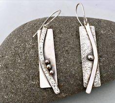 Sterling Silver Dangle Earrings, Long Sticks and Stones Earrings, Etta Earrings, Hypo Allergenic Earrings, Item # 1004