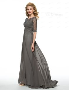 Half Sleeves Beaded Sequins Chiffon Mother of The Bride Dresses 99605004 Wedding Party Dresses, Bridal Dresses, Bridesmaid Dresses, Mob Dresses, Dresses With Sleeves, Formal Dresses, Wedding Renewal Vows, Satin Color, Beaded Chiffon