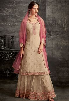 beige georgette embroidered palazzo style pakistani suit 62006