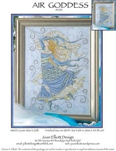 Joan Elliott Air Goddess - Cross Stitch Pattern. Stitched on your choice of 14 count fabric with DMC floss, Kreinik #4 Braid, and Mill Hill Beads. Stitch Count: