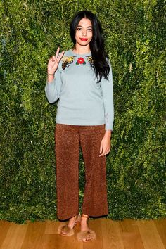 Proof That Culottes Can Be Fancy As Hell #refinery29  http://www.refinery29.com/2016/02/103628/celebrity-fancy-culottes-outfit-ideas#slide-3  For the premiere of the CFDA/Vogue Fashion Fund and Amazon's new series The Fashion Fund, Brother Vellies designer Aurora James' sparkly culottes were a perfect, whims...