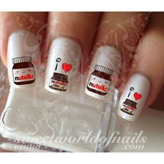 Nutella Nail Art I love Nutella Water Decals Slides