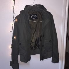 green utility jacket, VERY cute  only worn a couple of times, will send more pics if interested just let me know! large but can fit smaller sizes for sure! Jackets & Coats Utility Jackets