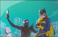 spider-gwen-spider-woman-and-batgirl-fan-art-by-coran-kizer-stone2