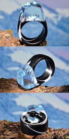 Wood and resin ring made of black hornbeam and light blue jewelry resin