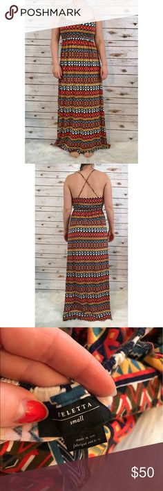 Anthropologie deletta Boho Print maxi dress Size small. In excellent condition, no flaws! Length-51 inches. Bust-15 but it stretches! *** no trades!! Anthropologie Dresses Maxi
