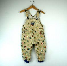 Vintage Baby Oshkosh Overalls in Jungle Theme 2T
