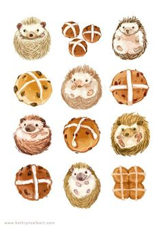 Sweet illustration print of hedgehogs and hot cross buns