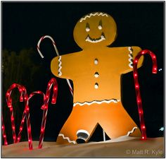 Gingerbread Man outdoor Christmas decor  Use cardboard and allow kids to decorate for the windows